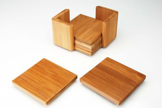 6-Piece Bamboo Coaster Set