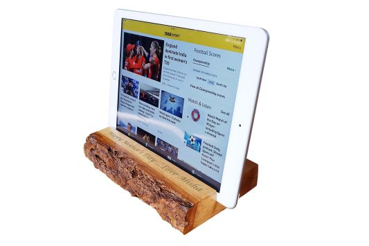Handcrafted Personalsied Oak Tablet Stand