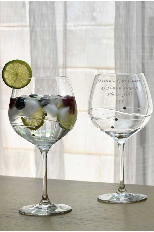 Personalised Gin Glass Pair - Diamante Satin Presentation Gift Box