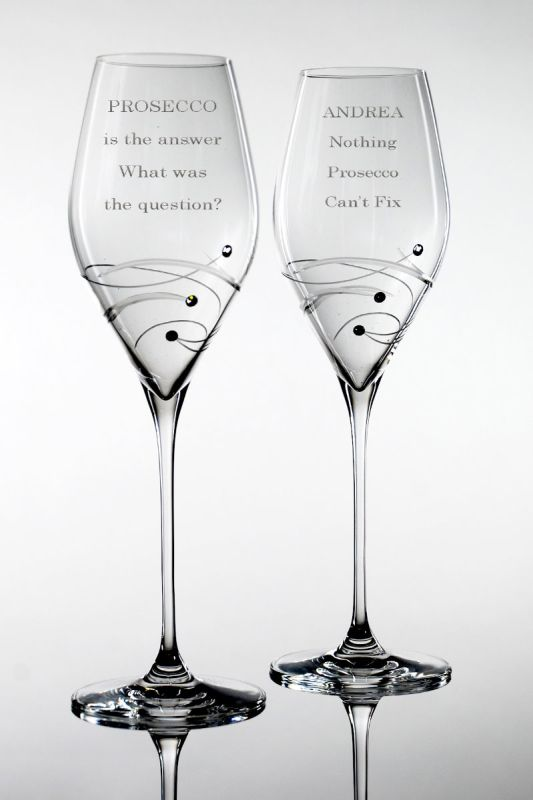 Personalised Prosecco Glasses | Spiral Gift Boxed Pair