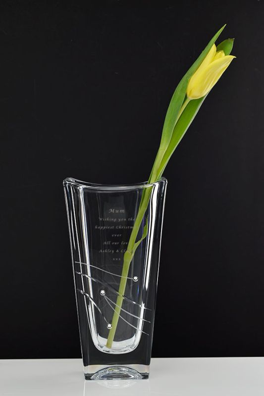 Personalised Rectangular Tall Vase Hand-cut & Decorated with Swarovski Elements