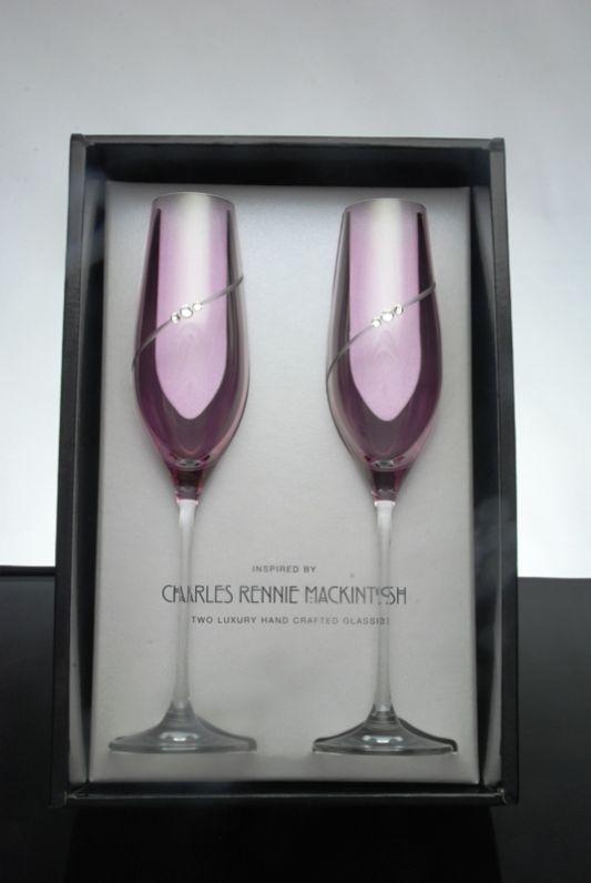 Pink Silhouette Flute Pair | Swarovski Elements