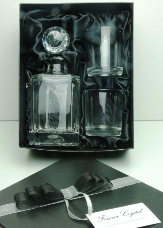 Bohemia Plain Crystal 3-Piece Whisky Decanter Set