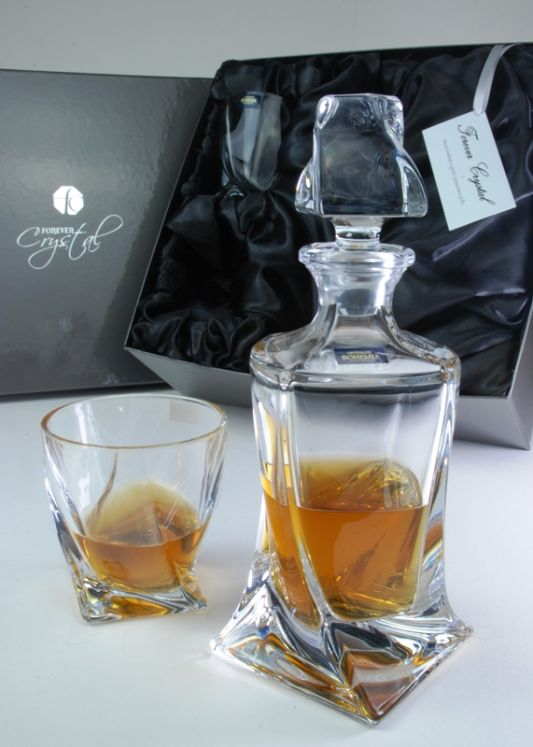 Engraved Quadro 3-Piece Spirit Decanter Set | Satin Boxed