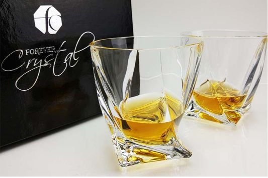 Personalised Quadro Spirit Glass in Satin Presentation Gift Box
