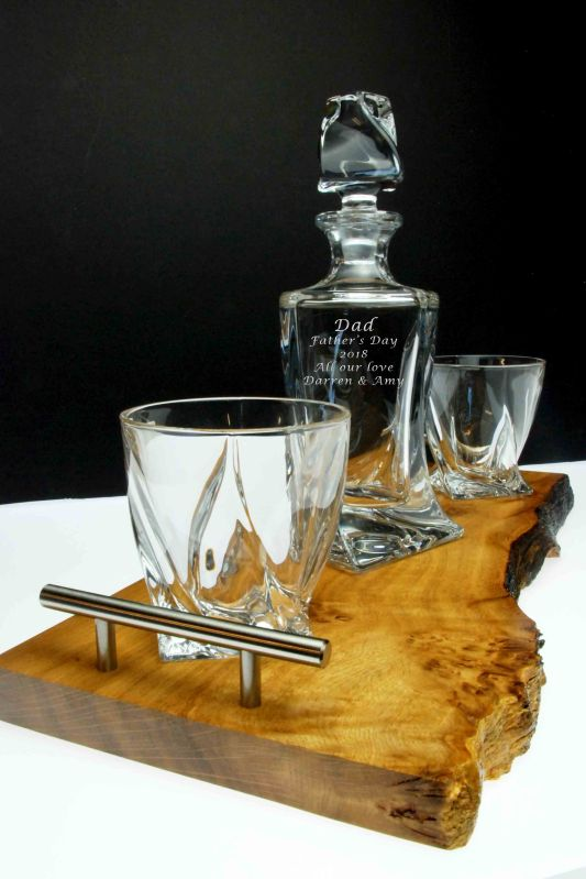 Spirit Decanter Set and Handcrafted Oak Tray
