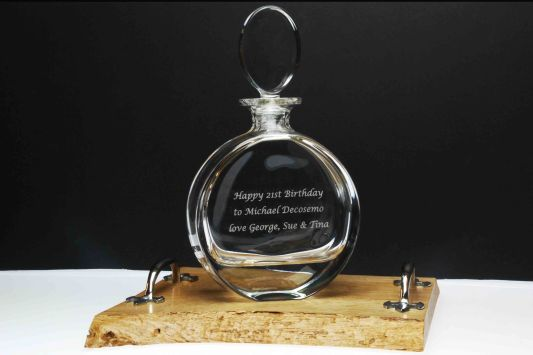 Engraved Severn Crystal Decanter and Handcrafted Oak Tray