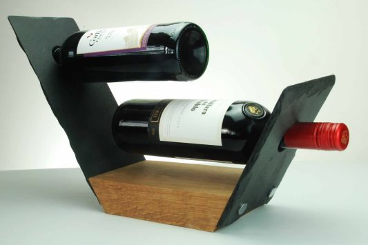 Handcrafted Slate and Oak Wine Rack