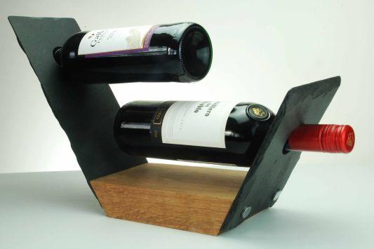 Handcrafted Slate and Oak Wine Rack