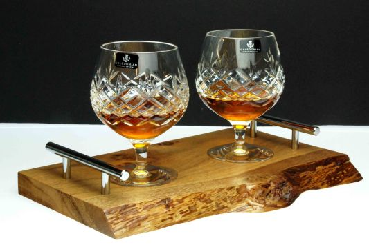 Speymore Crystal Brandy Glasses and Natural Wooded Tray made from of Oak