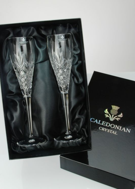 Speymore Crystal Champagne Flute Presentation Boxed Pair