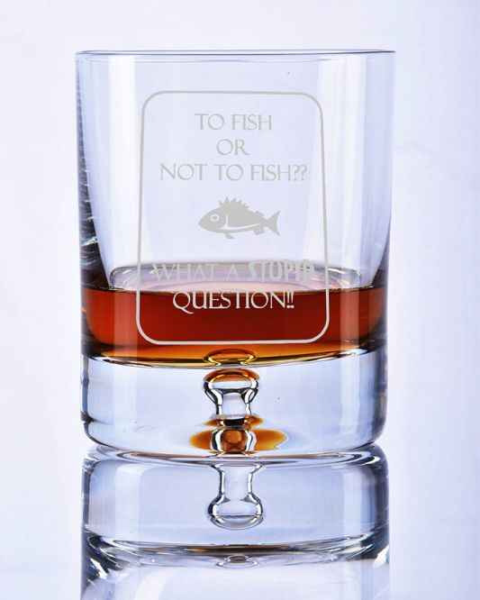 Bubble Base Whisky Tumbler with Fishing Motif