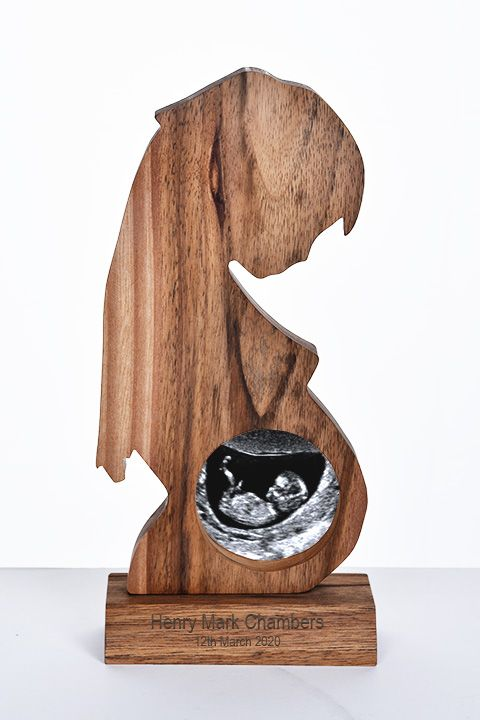 Handcrafted Walnut Photo Frame for Baby Scan